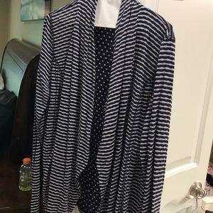 Navy stripe cardigan, dots on the inside, Large